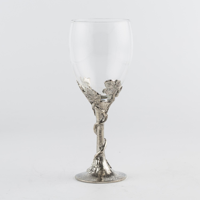 奥地利原产ARTINA 锡制玻璃红酒杯工艺酒杯 银色