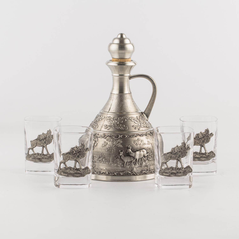 奥地利原产ARTINA- Jagd 锡制玻璃烈酒壶酒杯5件套 银色
