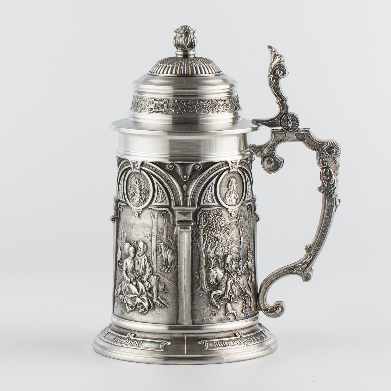 奥地利原产ARTINA-Albrecht Dürer 锡制啤酒杯工艺酒杯 银色