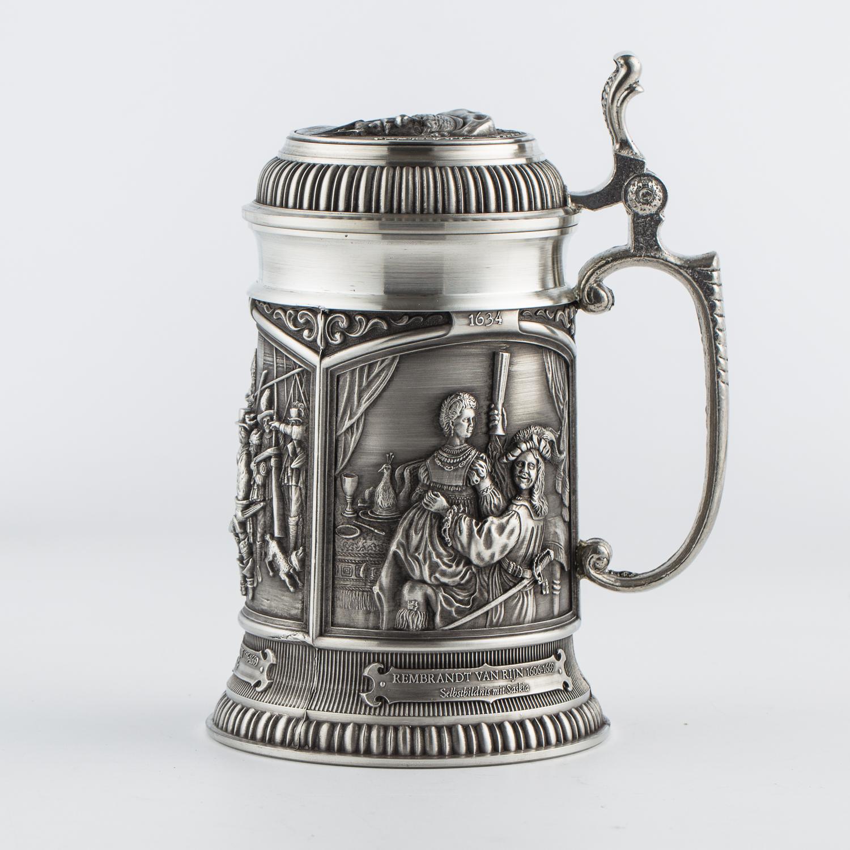 奥地利原产ARTINA-MEISTERWERKE锡制啤酒杯工艺酒杯H17cm 银色