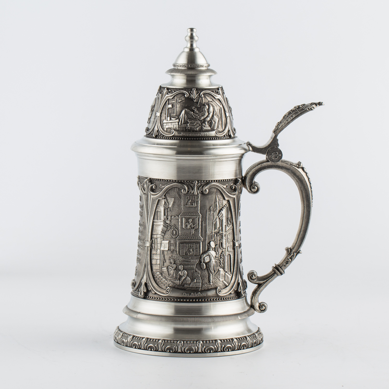 奥地利原产ARTINA-Spitzweg 锡制啤酒杯工艺酒杯艺术品 银色