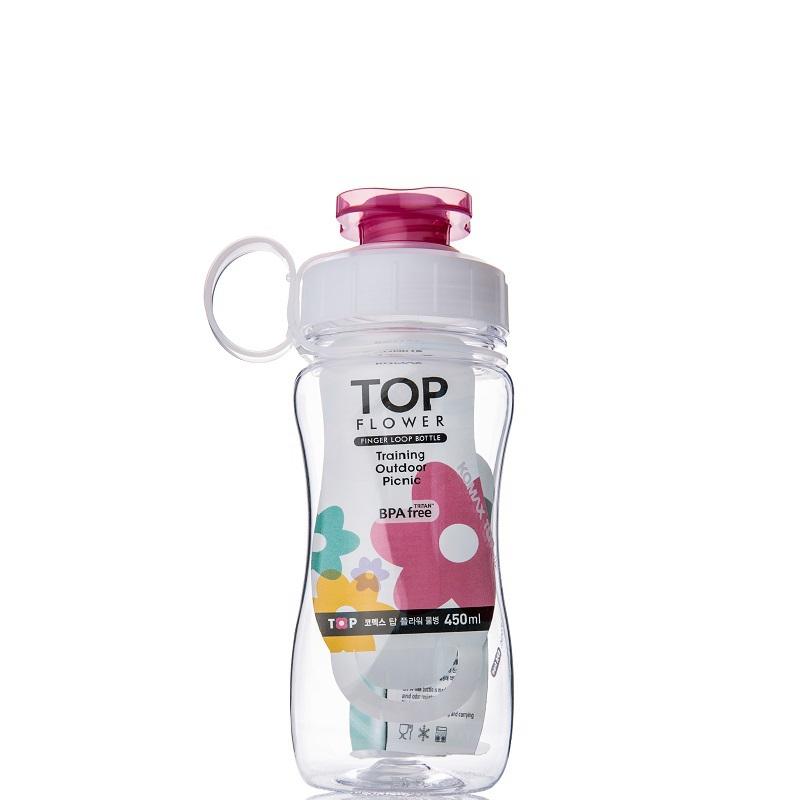 韩国原产Komax TOP Flower便携运动水杯茶杯 450ML 透明