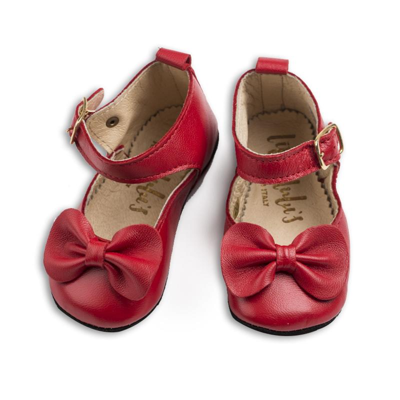英国原产little lulus夏洛特纳帕皮革婴幼儿休闲鞋童鞋 红 0-6m