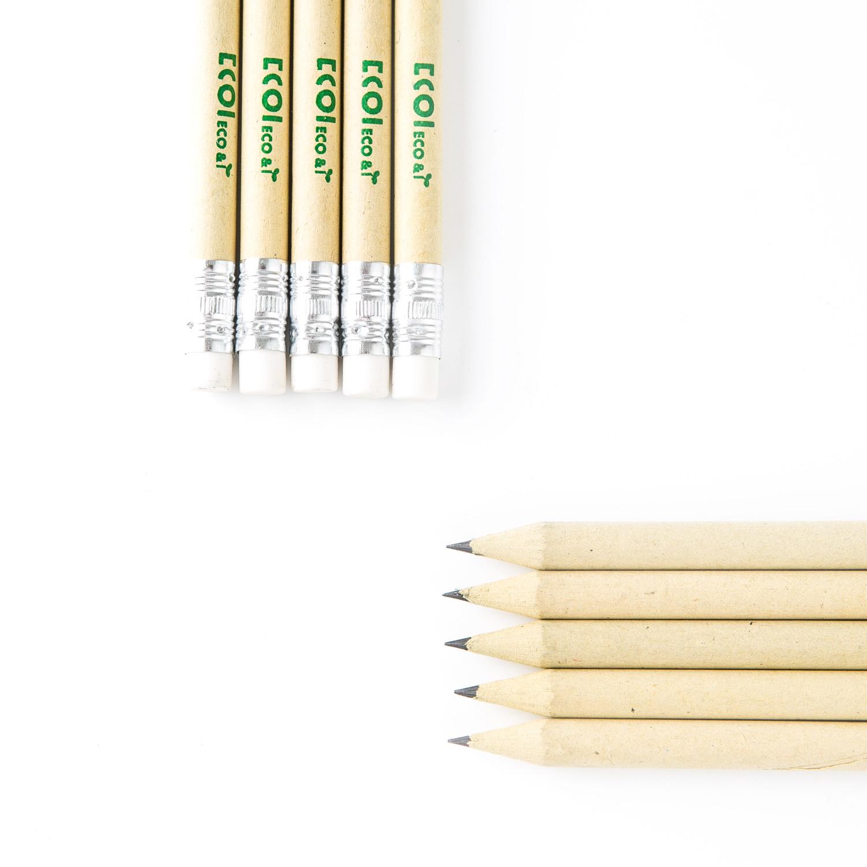 韩国原产ECOI纸质原色铅笔含橡皮擦纸铅笔HB铅笔10支装 黑色铅芯
