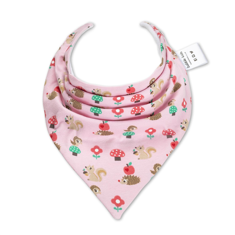 英国原产Babble Kids小松鼠口水巾婴儿围兜围巾口水巾 粉色