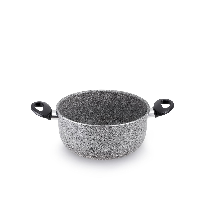 意大利原产VALSECCHI不粘双耳小汤锅煮锅炖锅22cm 浅灰