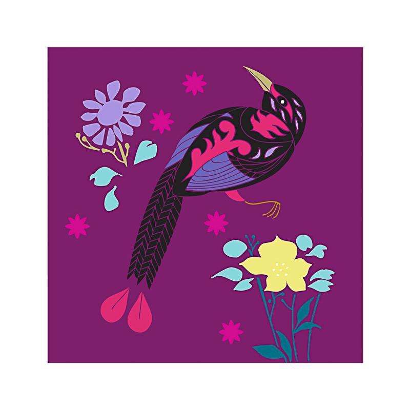 英国原产IONA天堂鸟水墨画图节日祝福贺卡明信片 紫色