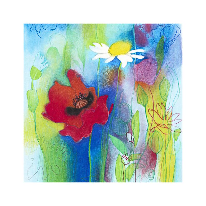 英国原产IONA野花水墨画图案节日祝福贺卡明信片-1 彩色