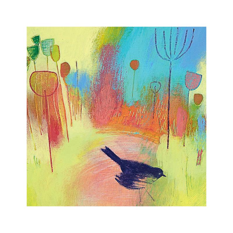 英国原产IONA画眉鸟水墨画图案节日祝福贺卡明信片 彩色