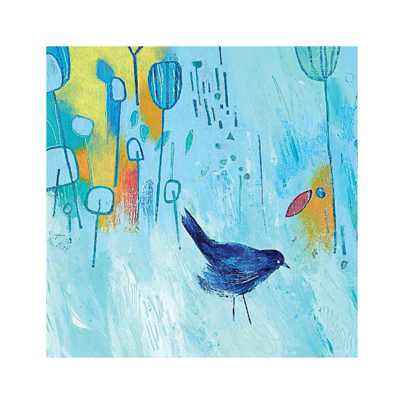 英国原产IONA画眉鸟水墨画图生日节日祝福贺卡明信片 蓝色