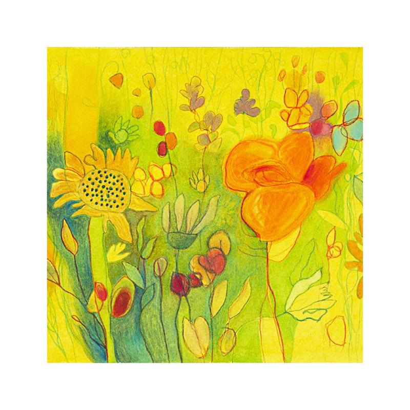 英国原产IONA野花图案商务祝福礼物卡片贺卡明信片礼品-4 黄色