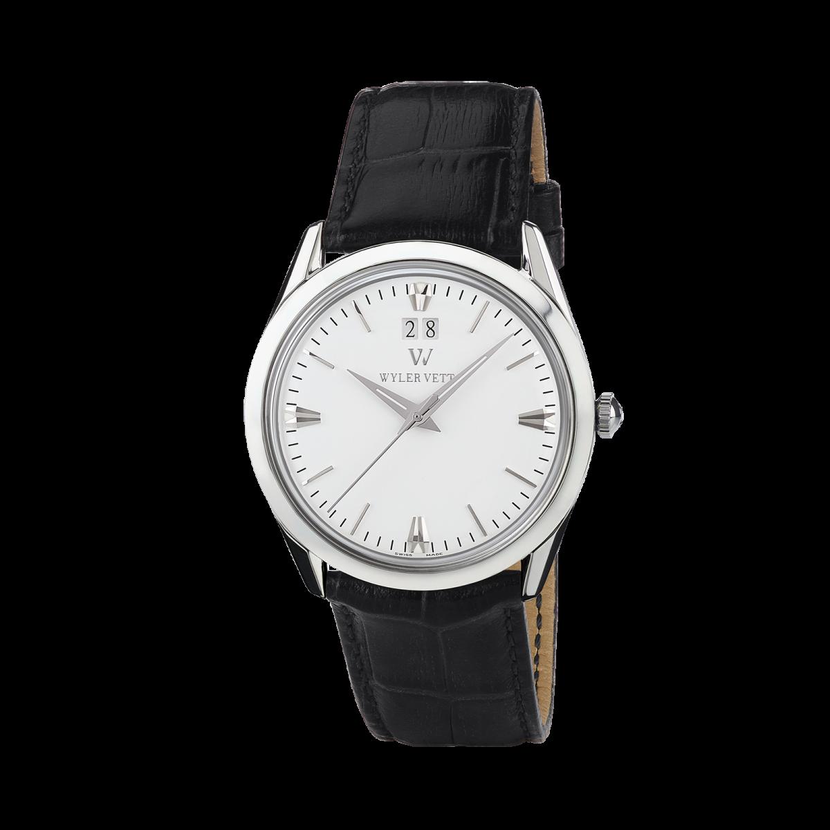 意大利WYLER VETTA传承系列男士手表石英表 白色表盘 黑色表带
