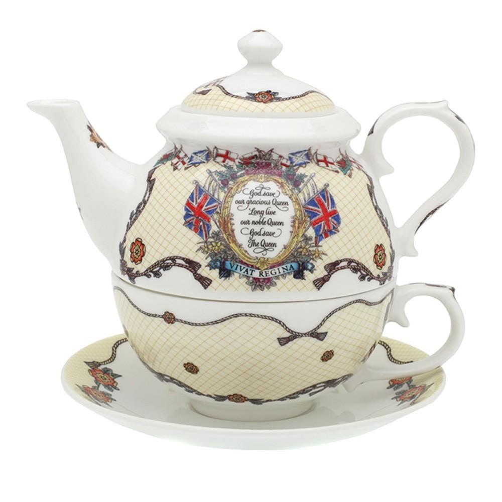 英国Halcyon Days 皇室系列Vivat Regina骨瓷茶具 乳白色