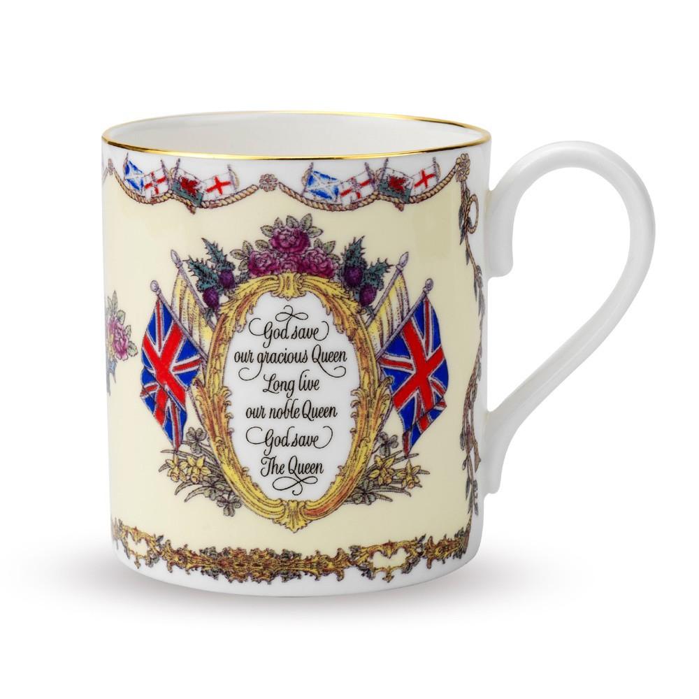 英国Halcyon Days 皇室系列Vivat Regina骨瓷马克杯 乳白色