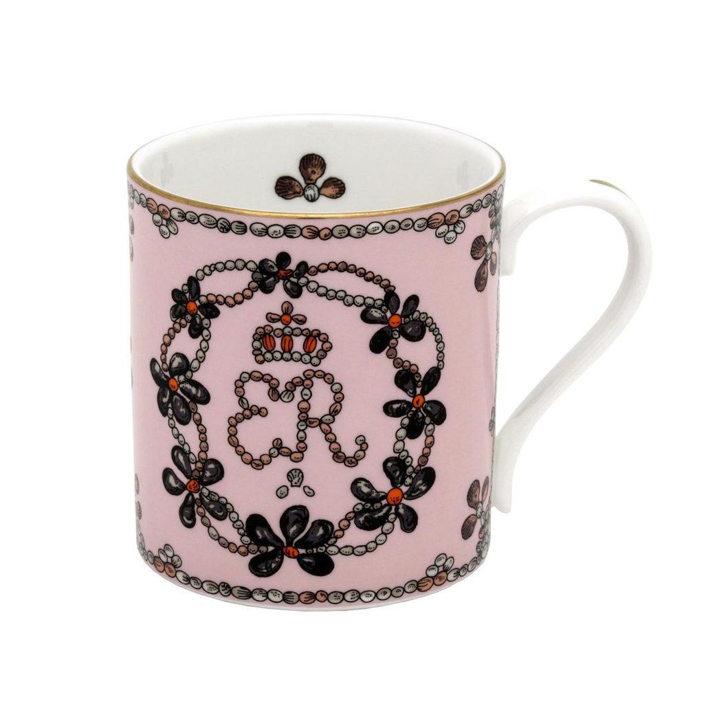 英国Halcyon Days 贝壳装饰 骨瓷马克杯 粉色