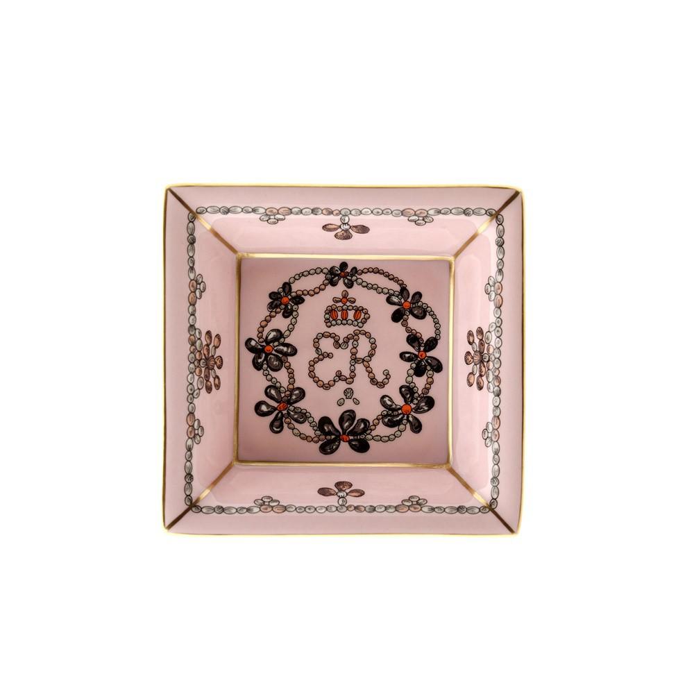 英国Halcyon Days 贝壳装饰 骨瓷点心盘 粉色
