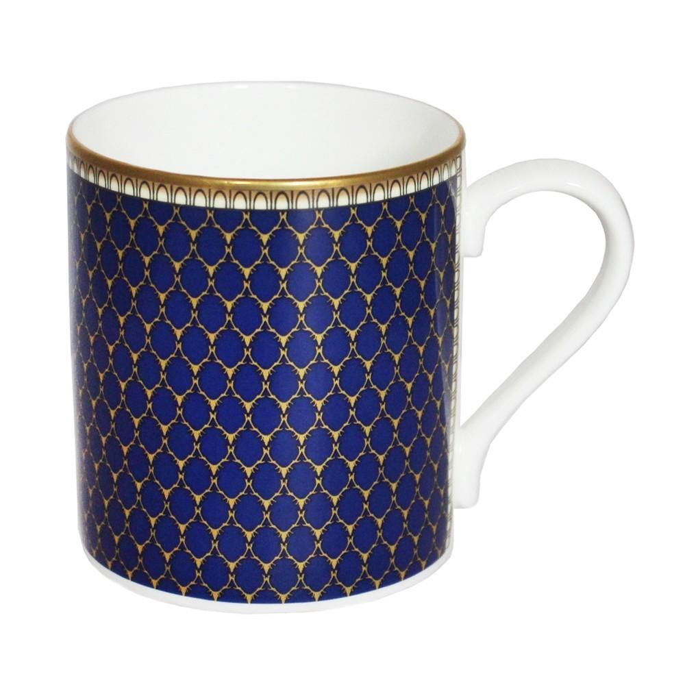 英国Halcyon Days 鹿角格子设计 骨瓷杯 深蓝