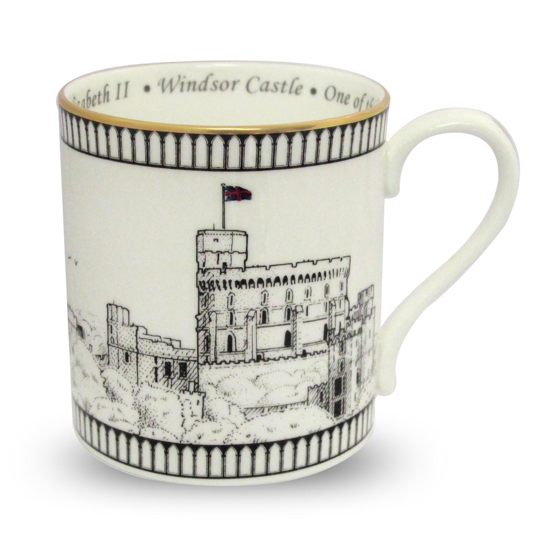 英国Halcyon Days温莎城堡骨瓷马克杯 白色