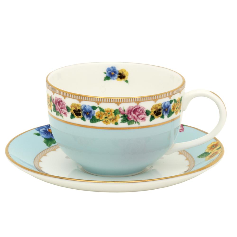 英国Halcyon Days梅伊城堡花园系列茶具 一杯一碟 浅蓝