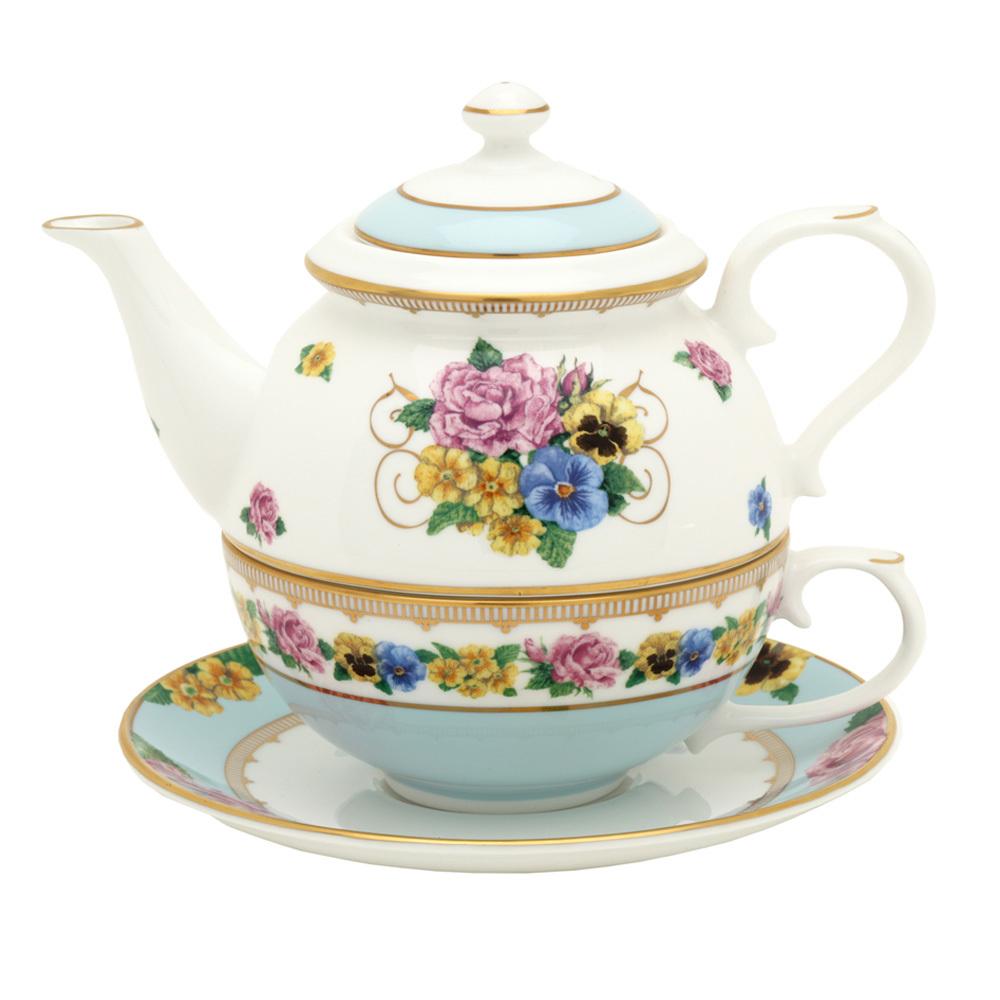 英国Halcyon Days梅伊城堡花园系列茶具 浅蓝