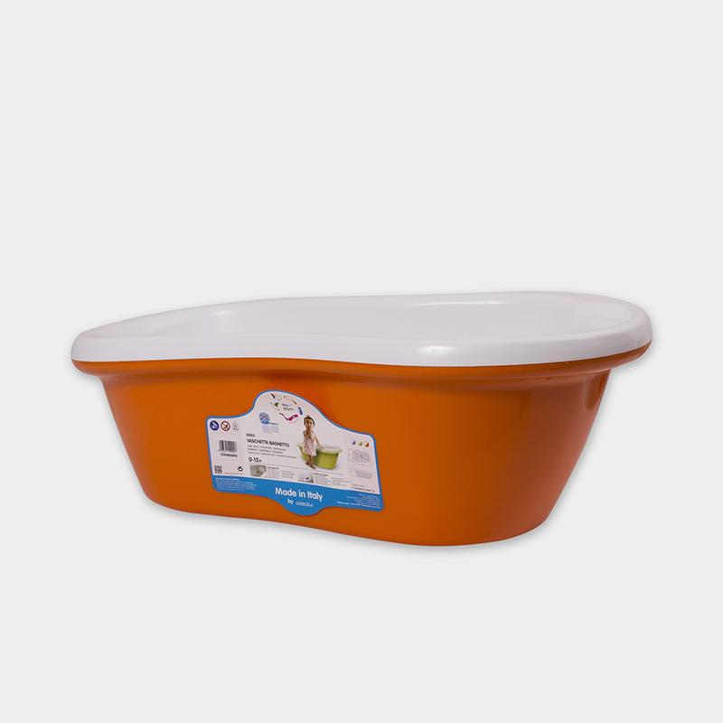 意大利原产da-dam 可排水婴儿浴盆宝宝洗澡盆 1-12个月 橙色