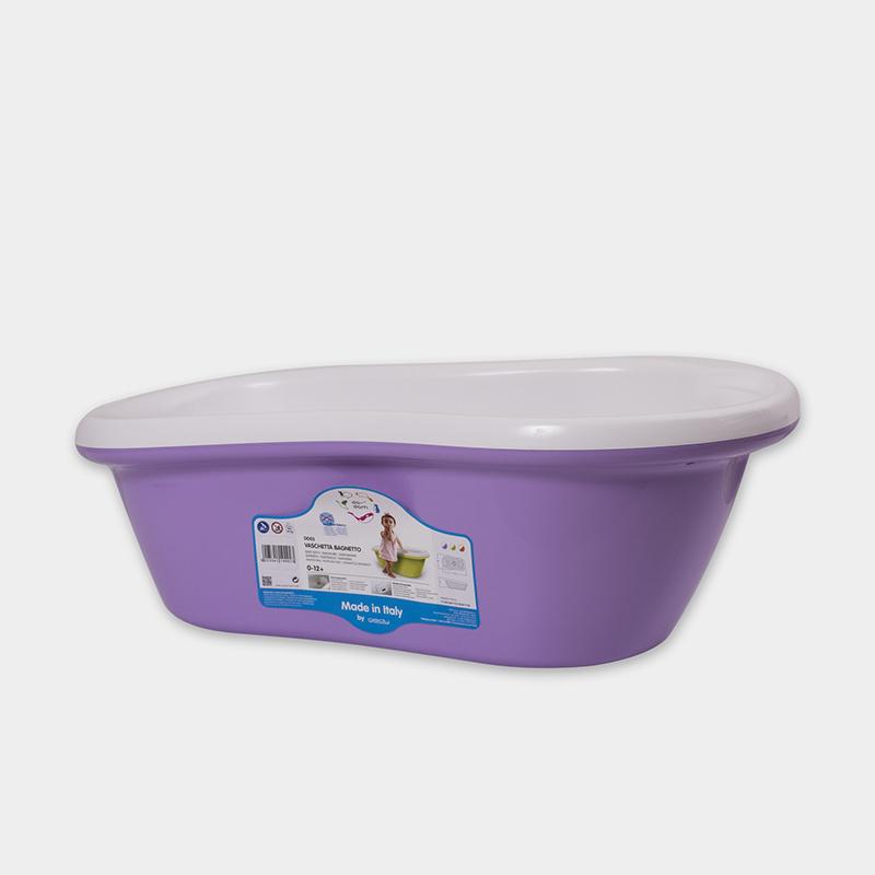 意大利原产da-dam 可排水婴儿浴盆宝宝洗澡盆 1-12个月 紫色