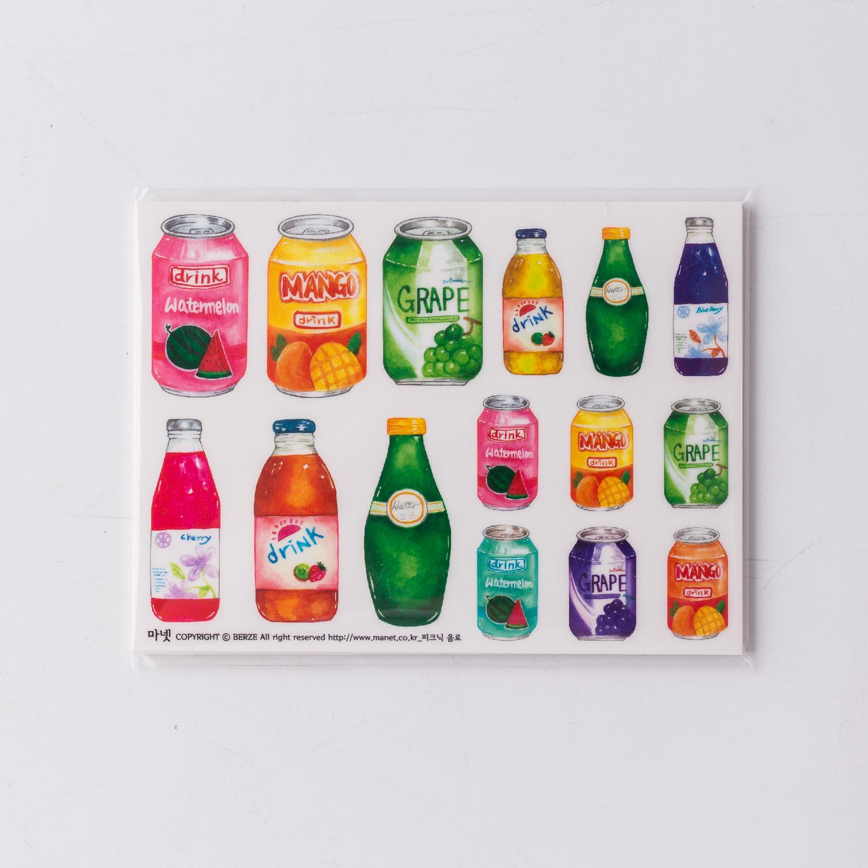 韩国原产MANET-创意贴纸卡通贴纸DIY贴纸索财汽水瓶 彩色