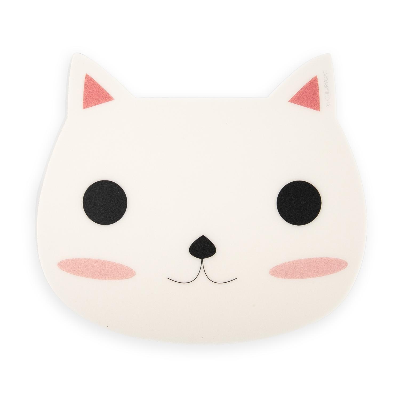 韩国原产CHERRYCAT 可爱猫咪粉色耳朵卡通鼠标垫微笑版 白色