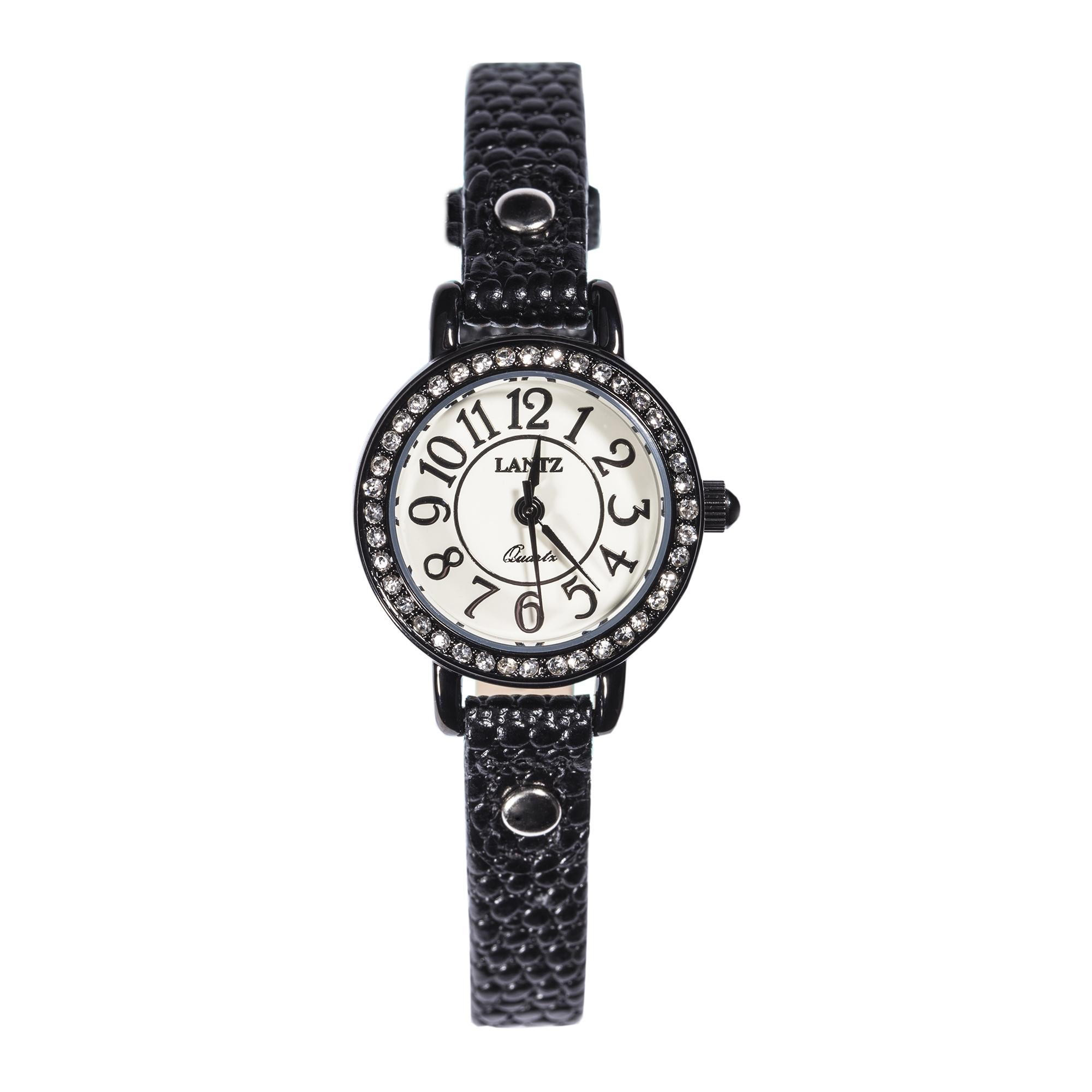 韩国原产LANTZ 时尚腕表碳钢石英表女式手表 黑色