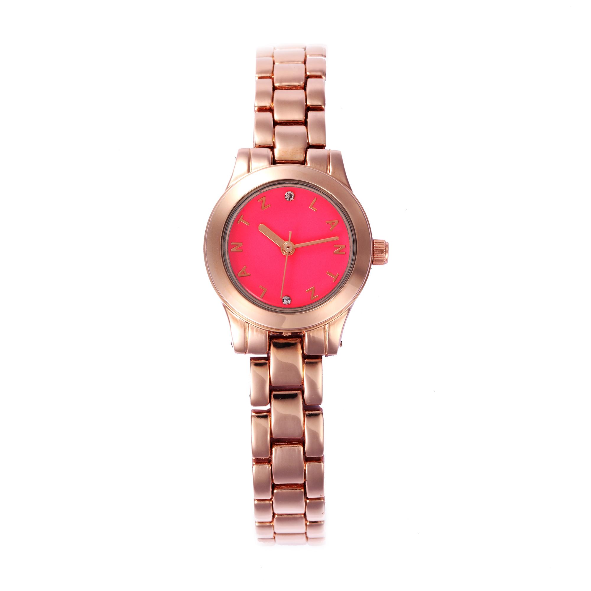 韩国原产LANTZ时尚腕表碳钢石英表女士手表 玫红
