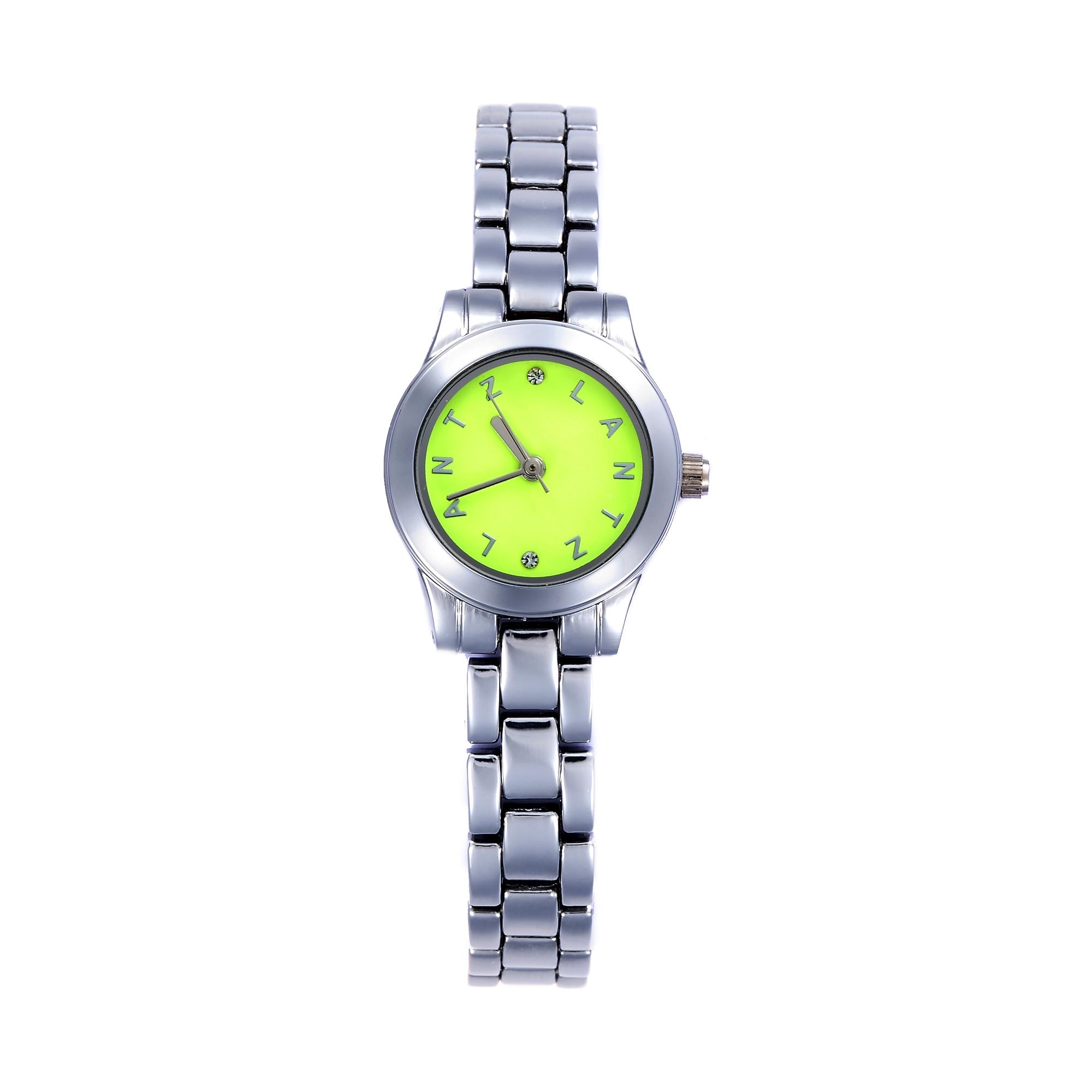 韩国原产LANTZ时尚腕表碳钢石英表女士手表 黄绿