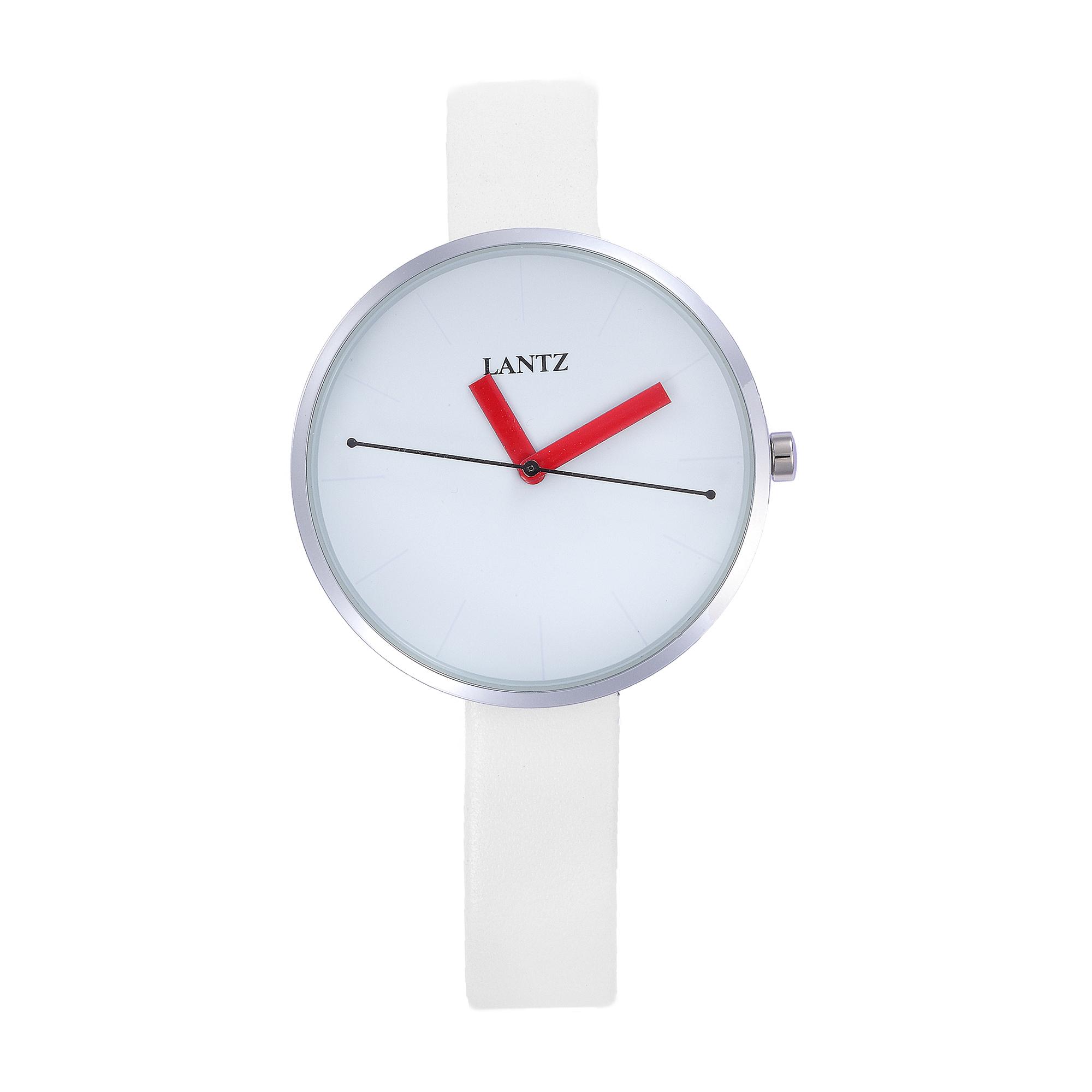 韩国原产LANTZ时尚腕表碳钢石英表女士手表 白带白盘
