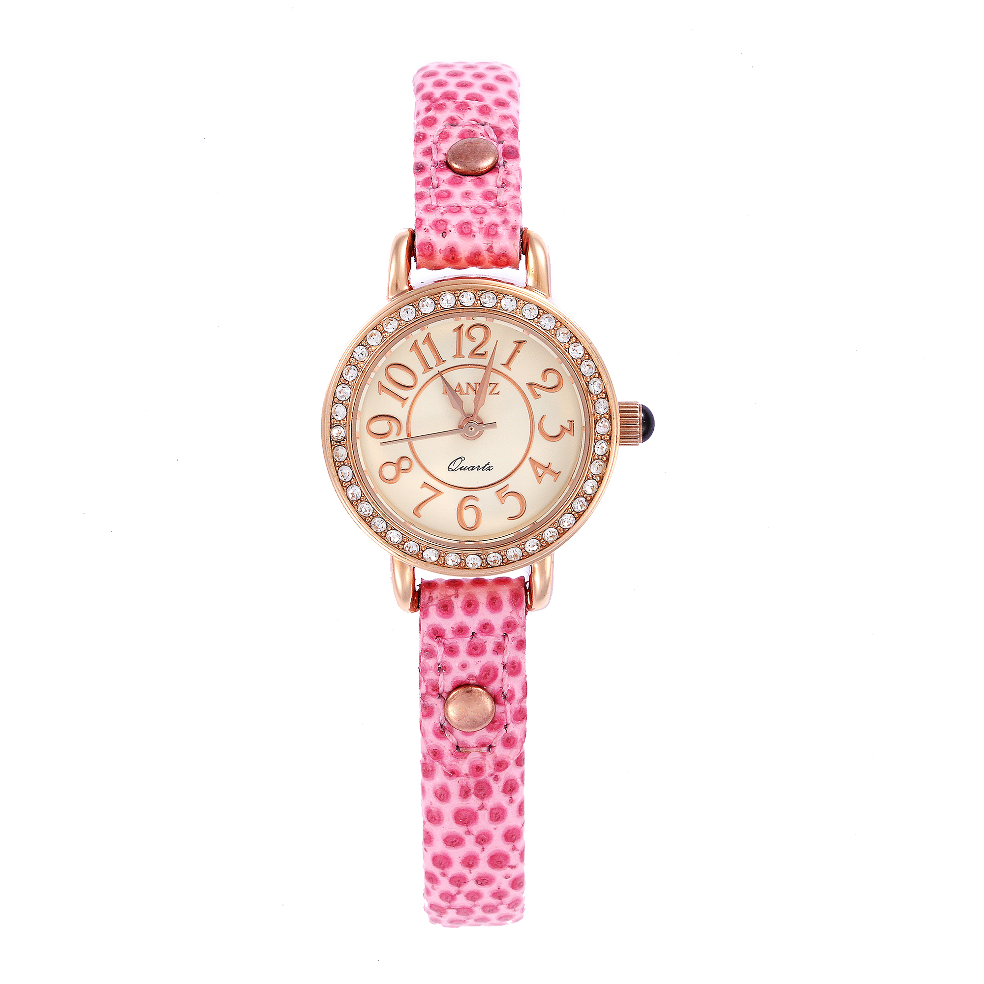 韩国原产LANTZ 时尚腕表碳钢石英表女式手表 粉红