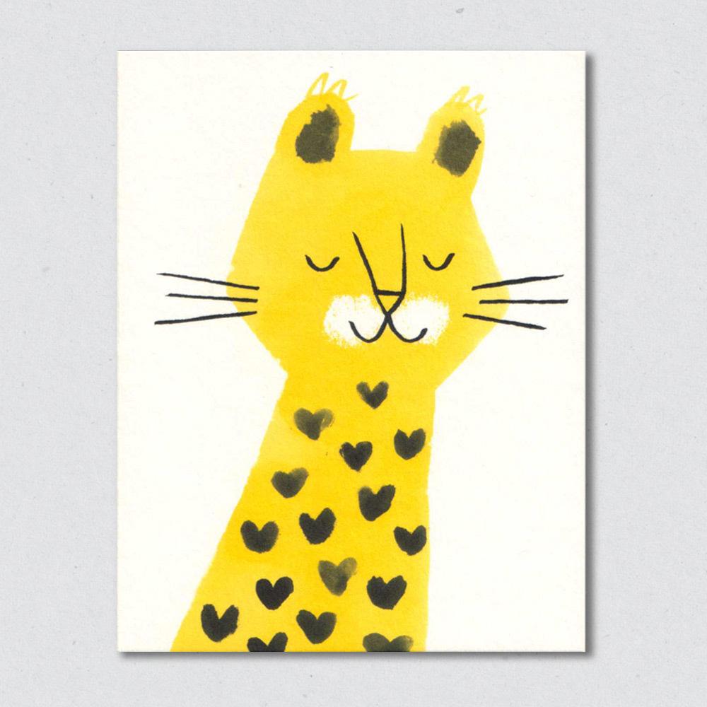 英国原产Lisa Jones Studio儿童启蒙认知学习卡片金钱豹 黄色