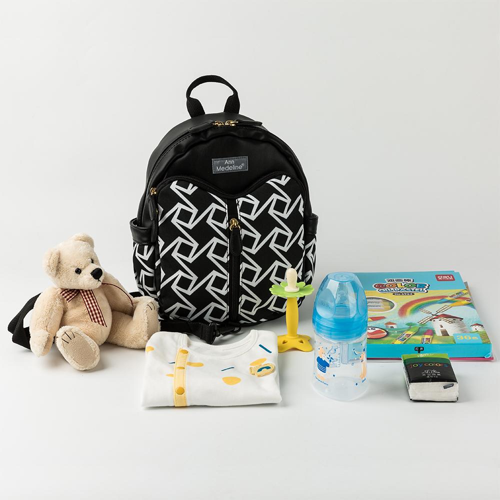 韩国原产Ann Medeline NFC 智能防走失包儿童背包外出包 黑白