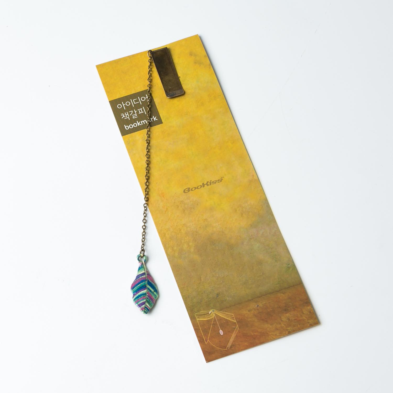 韩国原产BooKiss可爱树脂金属卡通书签可爱叶子 蓝色