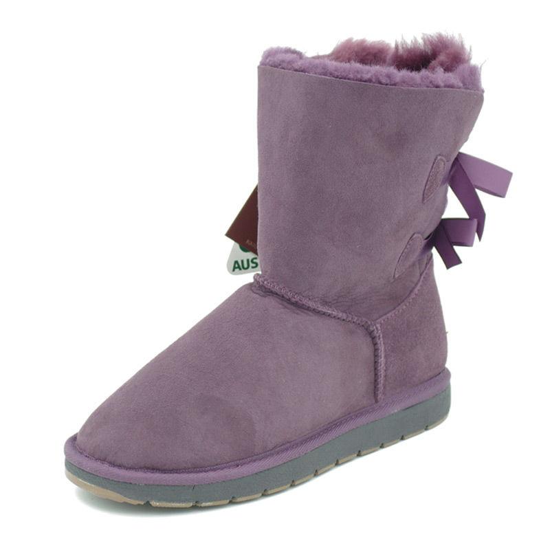 澳洲SHEARERS后蝴蝶结中筒靴舒适保暖雪地靴 紫色 7码(39)