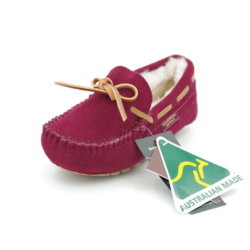 澳洲SHEARERS莫卡辛豆豆鞋磨砂船鞋平底鞋女士冬季 酒红 8码(40)