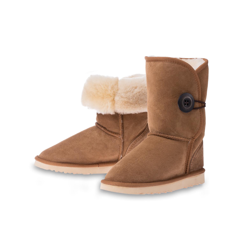 澳大利亚原产CHIC EMPIRE羊皮雪地靴中筒靴 栗色 6码