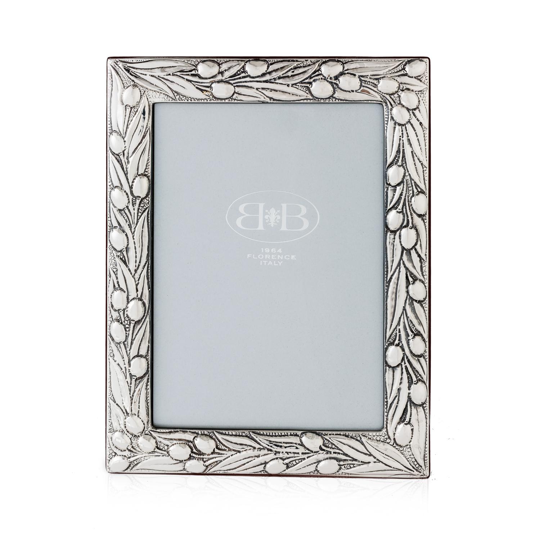 意大利原产B&B银制手工相框摆台裱画框橄榄花纹 银色 S
