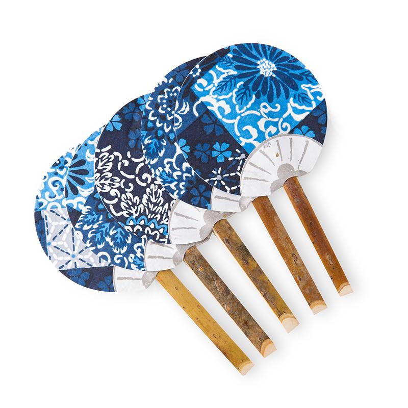 日本原产Ishikawa 美浓和纸扇子5把装 蓝色