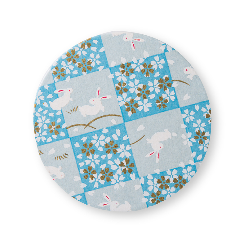 日本原产Ishikawa 美浓和纸木质茶托杯垫 菊花 浅蓝