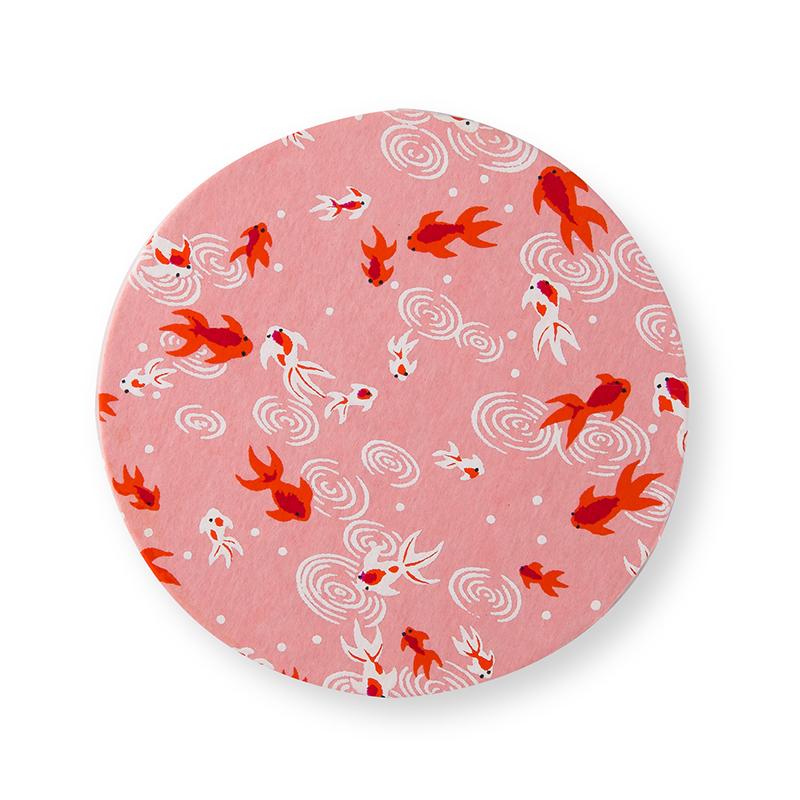 日本原产Ishikawa 美浓和纸杯垫茶托 金鱼 红色