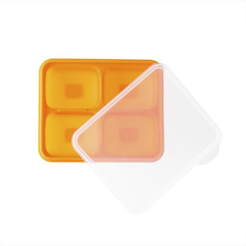 韩国原产BeBe乐硅胶婴儿辅食盒食物储存格冰箱储存盒大号 橙色