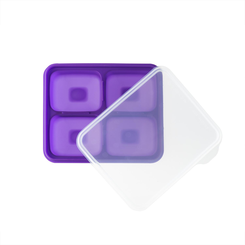 韩国原产BeBe乐硅胶婴儿辅食盒食物储存格冰箱储存盒大号 紫色