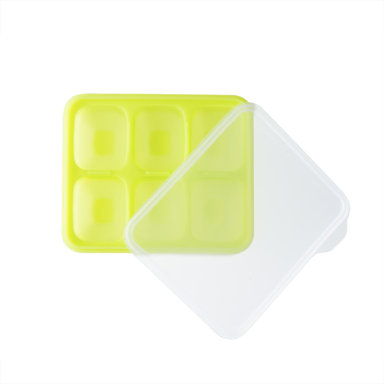 韩国原产BeBe乐硅胶婴儿辅食盒冰箱储存盒食物储存格中号 绿色
