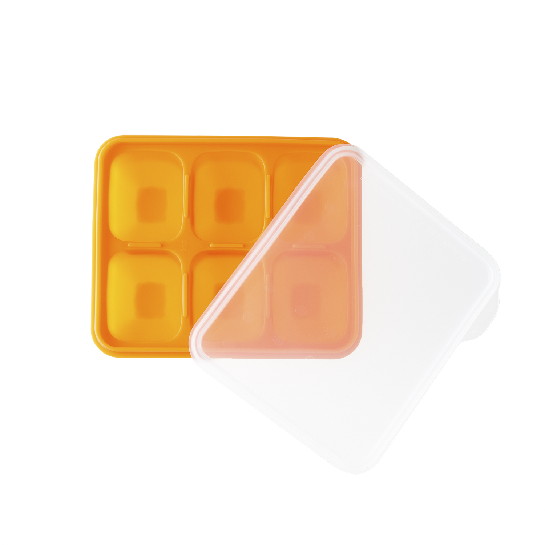韩国原产BeBe乐硅胶婴儿辅食盒冰箱储存盒食物储存格中号 橙色