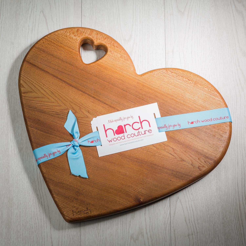 英国原产harch 榆木实木手工菜板砧板案板心形 棕色 L