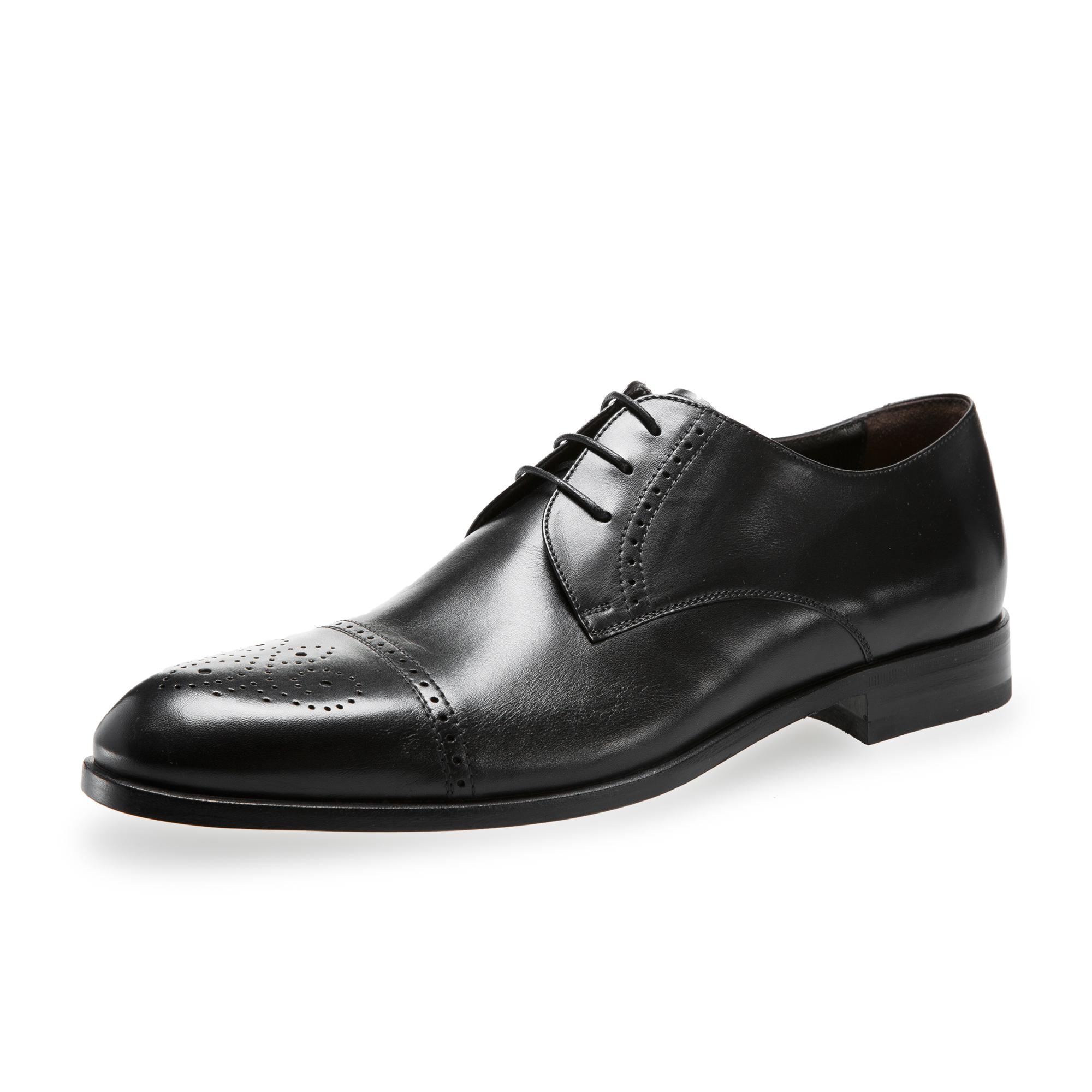 意大利原产germano bellesi带尖头包皮牛皮鞋男士皮鞋768 黑色 41