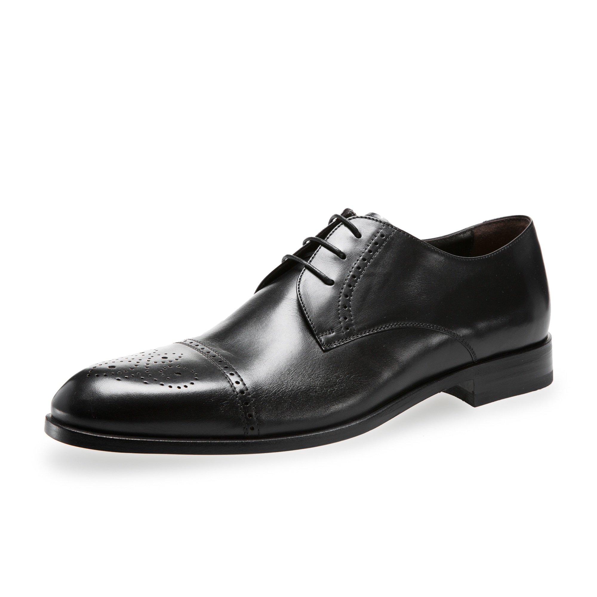 意大利原产germano bellesi带尖头包皮牛皮鞋男士皮鞋768 黑色 40